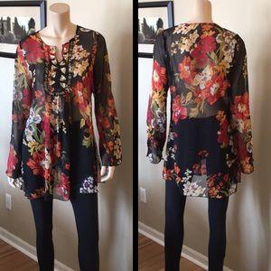 Tops - Floral Sheer Embellished Tunic